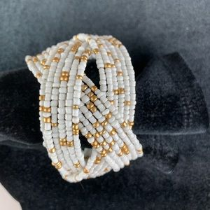 Bead Bracelet Wide Cuff White and Gold